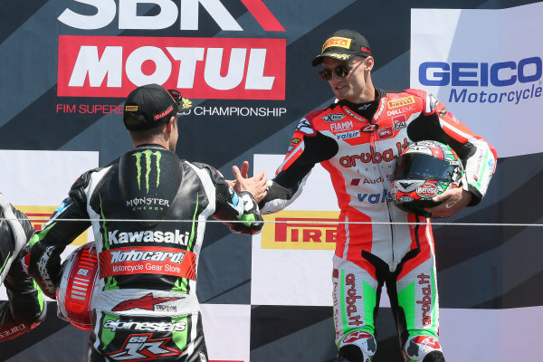 2017 Superbike World Championship - Round 8 Laguna Seca, USA. Sunday 9 July 2017 Podium: winner Jonathan Rea, Kawasaki Racing, third place Chaz Davies, Ducati Team World Copyright: Gold and Goose/LAT Images ref: Digital Image 683458