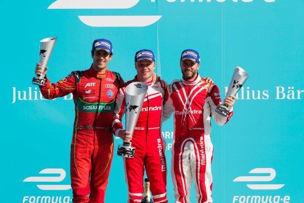 2016/2017 FIA Formula E Championship. Round 7 - Berlin ePrix, Tempelhof Airport, Berlin, Germany. Saturday 10 June 2017. Lucas Di Grassi (BRA), ABT Schaeffler Audi Sport, Spark-Abt Sportsline, ABT Schaeffler FE02, Felix Rosenqvist (SWE), Mahindra Racing, Spark-Mahindra, Mahindra M3ELECTRO, and Nick Heidfeld (GER), Mahindra Racing, Spark-Mahindra, Mahindra M3ELECTRO, on the podium. Photo: Zak Mauger/LAT/Formula E ref: Digital Image _54I7679