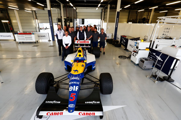 Williams 40 Event Silverstone, Northants, UK Friday 2 June 2017. A group photo next to the Williams FW14B Renault. Dickie Stanford sits on the right rear wheel, and Jonathan Williams stands behind the rear wing. World Copyright: Sam Bloxham/LAT Images ref: Digital Image _W6I6813