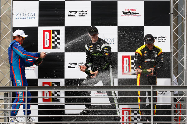 2017 Verizon IndyCar Series Honda Indy Grand Prix of Alabama Barber Motorsports Park, Birmingham, AL USA Sunday 23 April 2017 Josef Newgarden, Team Penske Chevrolet, Scott Dixon, Chip Ganassi Racing Teams Honda, Simon Pagenaud, Team Penske Chevrolet celebrate with champagne on podium World Copyright: Phillip Abbott LAT Images ref: Digital Image abbott_barber_0417_6650