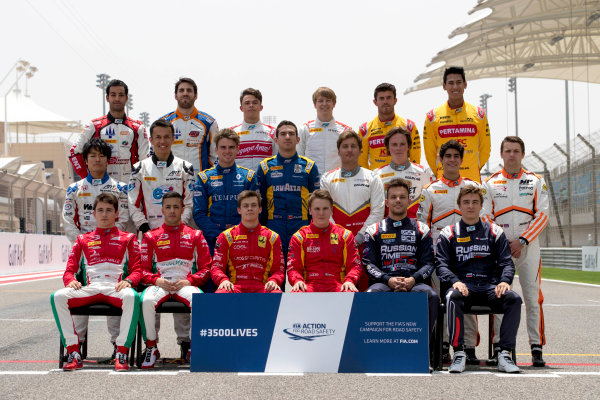2017 FIA Formula 2 Round 1. Bahrain International Circuit, Sakhir, Bahrain.  Thursday 13 April 2017. Class photo on the grid. Photo: Zak Mauger/FIA Formula 2. ref: Digital Image _56I8946