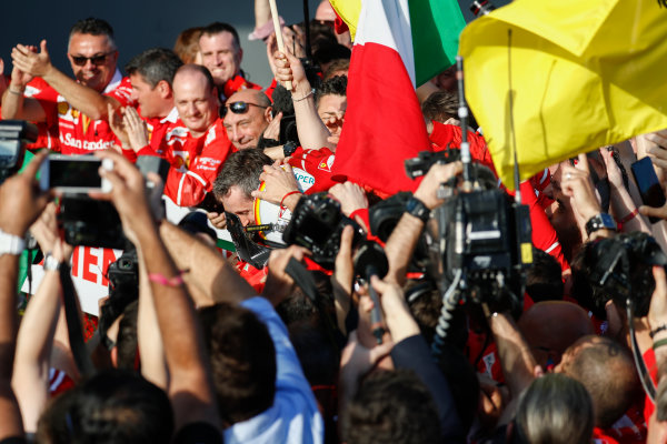 Albert Park, Melbourne, Australia. Sunday 26 March 2017. Sebastian Vettel, Ferrari, 1st Position, celebrates with his team in Parc Ferme.  World Copyright: Glenn Dunbar/LAT Images ref: Digital Image _X4I3551