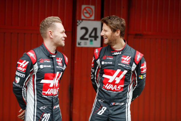 HAAS F1 Car Formula 1 Launch. Barcelona, Spain  Monday 27 February 2017. Kevin Magnussen, Haas F1 Team Romain Grosjean, Haas F1.  World Copyright: Dunbar/LAT Images Ref: _31I9875