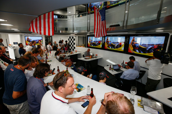 Monte Carlo, Monaco. Sunday 28 May 2017. McLaren adopts a distinctly American feel in the hospitality area, in celebration of their participation in the Indy 500 with Fernando Alonso, McLaren. World Copyright: Andy Hone/LAT Images ref: Digital Image _ONZ0931