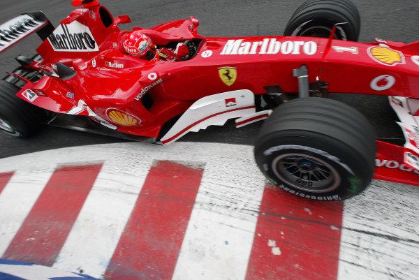 2004 Belgian Grand Prix - Friday Practice, Spa-Francorchamps, Belgium. 27th August 2004 Michael Schumacher, Ferrari F2004, action.World Copyright: Steve Etherington/LAT Photographic ref: Digital Image Only