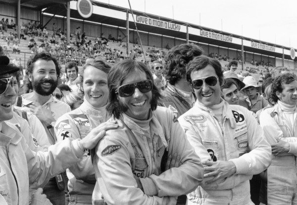 1973 South African Grand Prix.Kyalami, South Africa. 3 March 1973.Jackie Stewart, Niki Lauda, Emerson Fittipaldi, Carlos Pace and Jean-Pierre Beltoise. Ref-5107 #20A.World Copyright - LAT Photographic