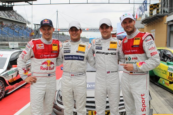 The top four after the qualifaing (l-r) Mattias Ekstrom (SWE), Audi Sport Team Abt Sportsline (3rd), Bruno Spengler (CDN), Mercedes-Benz Bank AMG (Pole Position), Jamie Green (GBR), AMG Mercedes (2nd) and Martin Tomczyk (GER), Audi Sport Team Phoenix (4th).