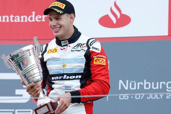 2013 GP3 Series. Round 4.  Nurburgring, Germany.  6th July 2013.  Saturday Race. Facu Regalia (ARG, ART Grand Prix) celebrates his victory on the podium.  World Copyright: Alastair Staley/GP2 Series Media Service. Ref: _R6T7254