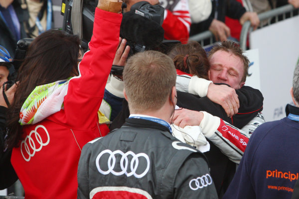 2013 FIA WEC Championship, Silverstone, Northamptonshire. 12th - 14th April 2013. Allan McNish Audi R18 e-tron quattro celebrates the win World Copyright: Ebrey / LAT Photographic.
