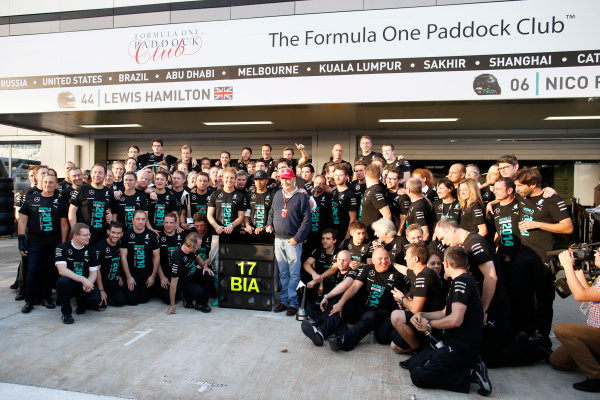 Sochi Autodrom, Sochi, Russia. Sunday 12 October 2014. The mercedes team show support for Jules Bianchi, Marussia F1, during their celebrations. World Copyright: Glenn Dunbar/LAT Photographic. ref: Digital Image _89P4044