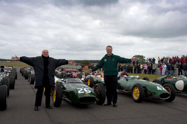 Snetterton, Norfolk. UK. 20th June 2010.Hazel Chapman and Clive Chapman Director, Classic Team Lotus with the Historic Team Lotus F1 cars. Portrait. World Copyright: Alastair Staley/LAT PhotographicDigital Image _P9O9399 jpg
