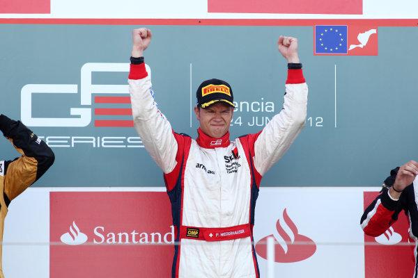 2012 GP3 Series, Round 3.Valencia, Spain. 24th June 2012. Sunday Race 2. Patric Niederhauser (SUI, Jenzer Motorsport) celebrates on the podium. Portrait. World Copyright:  Daniel Kalisz/LAT Photographic Ref: Digital Image IMG_2103