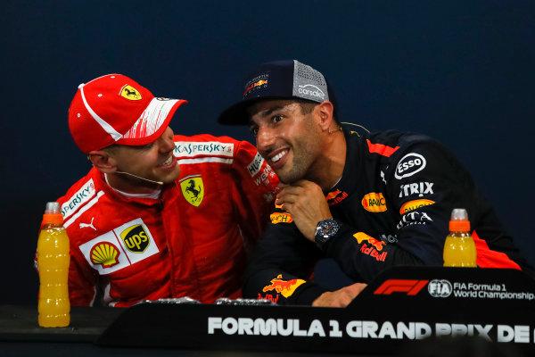 Sebastian Vettel (GER) Ferrari and Daniel Ricciardo (AUS) Red Bull Racing in the Press Conference
