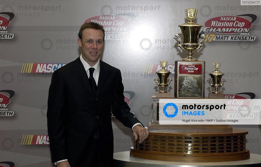 2003 Champion Matt Kenseth (USA) with the Winston Cup Trophy.Nascar Awards, New York City, New York, USA, 5 December 2003.DIGITAL IMAGE