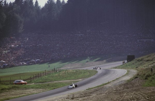 Race winner Carlos Reutemann (ARG) Brabham BT44 leads fifth placed Clay Regazzoni (SUI) Ferrari 312B3, who maintained his lead in the World Championship.Austrian Grand Prix, Osterreichring, 18 August 1974.BEST IMAGE