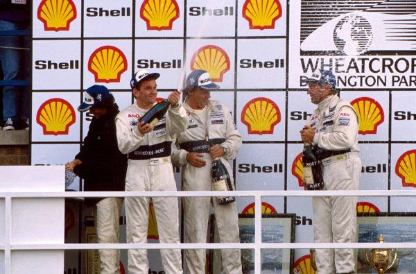 Podium and results: 1st: Jochen Mass (GER) / Jean-Louis Schlesser (FRA) Sauber Mercedes, right. 2nd: Kenny Acheson (GBR) / Mauro Baldi (ITA) Sauber Mercedes, left. World Sports Car Championship, Donington Park, England, 3 September 1989.