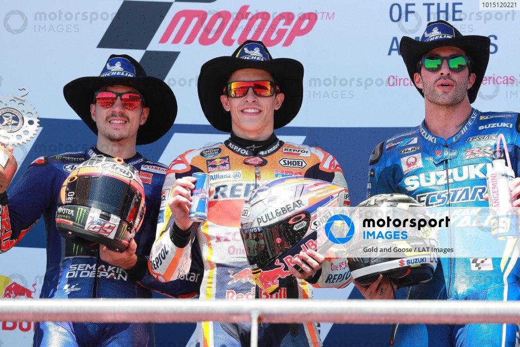 Podium: second place Maverick Viñales, Yamaha Factory Racing, Race winner arc Marquez, Repsol Honda Team, Athird place ndrea Iannone, Team Suzuki MotoGP.