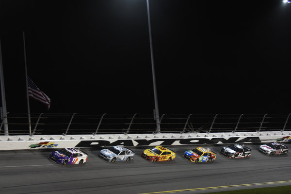 #11: Denny Hamlin, Joe Gibbs Racing, Toyota Camry  #4: Kevin Harvick, Stewart-Haas Racing, Ford Mustang Busch Light #TheCrew #22: Joey Logano, Team Penske, Ford Mustang Shell Pennzoil