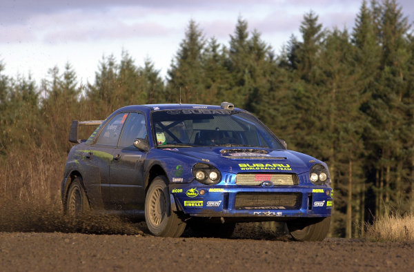 2002 World Rally Championship.Network Q Rally of Great Britain, Cardiff. November 14-17. Petter Solberg on stage 8.Photo: Ralph Hardwick/LAT