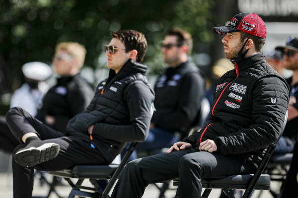 #18: Ed Jones, Dale Coyne Racing with Vasser Sullivan Honda at the driver's meeting