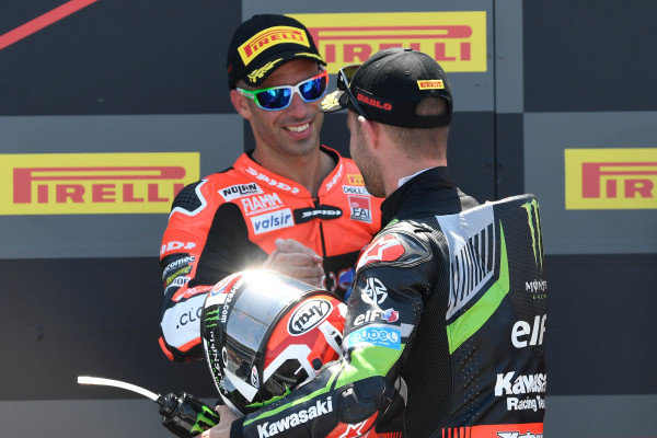 Podium: race winner Jonathan Rea, Kawasaki Racing, third place Marco Melandri, Aruba.it Racing-Ducati SBK Team.