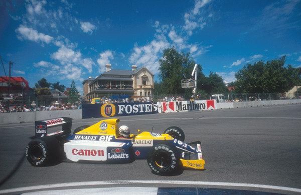 1990 Australian Grand Prix.Adelaide, Australia.2-4 November 1990.Riccardo Patrese (Williams FW13B Renault) 6th position.Ref-90 AUS 16.World Copyright - LAT Photographic