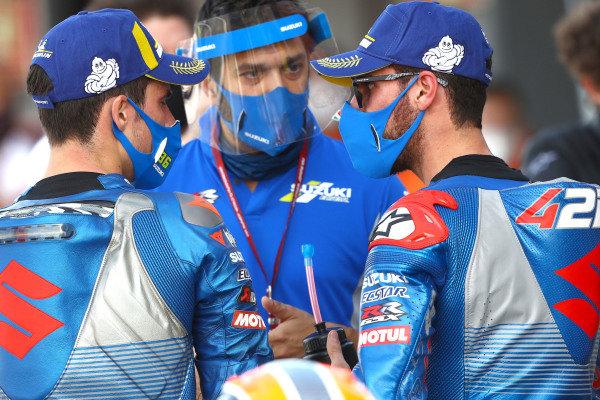 Race winner Joan Mir, Team Suzuki MotoGP, second place Alex Rins, Team Suzuki MotoGP.
