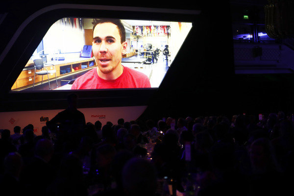 Injured Indycar driver Robert Wickens appears on video link as a nominee in the Rookie of the Year award