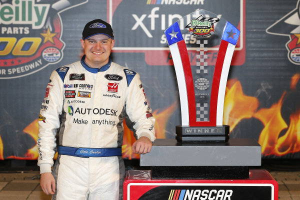 #00: Cole Custer, Stewart-Haas Racing, Ford Mustang Autodesk celebrates in victory lane