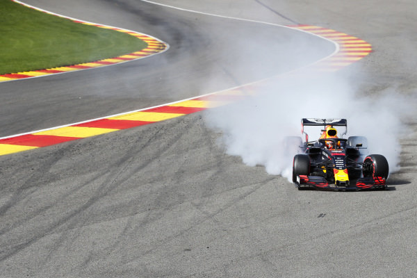 Max Verstappen, Red Bull Racing RB15, crashes on the opening lap