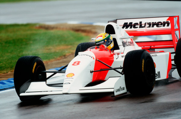 1993 European Grand Prix.Donington Park, England.9-11 April 1993.Ayrton Senna (McLaren MP4/8 Ford) 1st position.Ref-93 EUR 34.World Copyright - LAT Photographic
