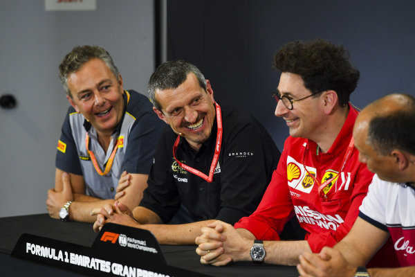 Mario Isola, Racing Manager, Pirelli Motorsport, Guenther Steiner, Team Principal, Haas F1, and Mattia Binotto, Team Principal Ferrari, in the team principals Press Conference