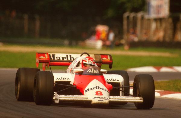 Monza, Italy.7-9 September 1984.Niki Lauda (McLaren MP4\2 TAG Porsche) 1st position.Ref-84 ITA 06.World Copyright - LAT Photographic