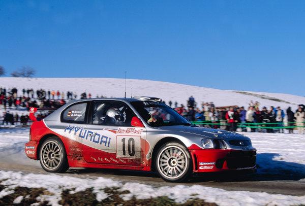 2003 FIA World Rally Championship. Monte Carlo, Monaco. Rd1.23-26 January 2003.Armin Schwarz/Manfred Hiemer (Hyundai Accent WRC) 8th position.World Copyright: McKlein/LAT Photographicref: 35mm Image A37