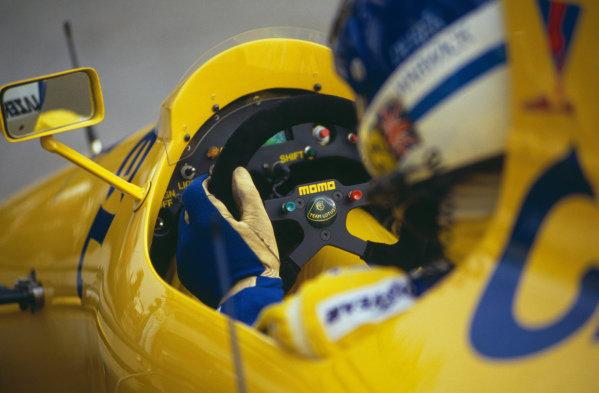 Derek Warwick, Lotus 102 Lamborghini, during practice.