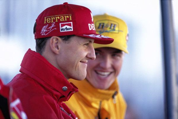 Test Jerez 1997. Michael Schumacher, Ferrari, and brother Ralf, Jordan on the 16th of February, 1997
