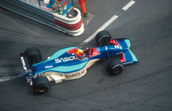 1992 Monaco Grand Prix.Monte Carlo, Monaco.28-31 May 1992.Mauricio Gugelmin (Jordan 192 Yamaha) at the Nouvelle Chicane. He exited the race with transmission failure.Ref-92 MON 39.World Copyright - LAT Photographic