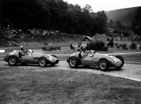 2003 Racing Past. . Exhibition1952 French Grand Prix, Rouen. World Champion Alberto Ascari chases Rudolf Fischer.World Copyright - LAT PhotographicExhibition ref: a004