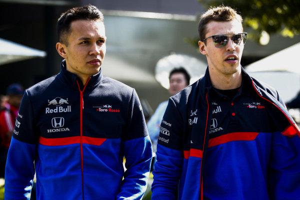 Alexander Albon, Toro Rosso and Daniil Kvyat, Toro Rosso