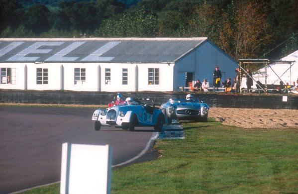 2001 Goodwood Revival.Goodwood, Sussex, England.15-16 September 2001.Douglas Blain (Morgan Plus 4) gets very sideways with Graham Scott (Mercedes-Benz 300SLS) and Charles Morgan (Morgan Plus 4) behind in the Fordwater Trophy race. Ref-01 GR 56.World Copyright - LAT Photographic
