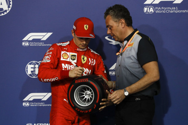 Charles Leclerc, Ferrari and Mario Isola, Racing Manager, Pirelli Motorsport with the Pirelli Pole Position Award in Parc Ferme