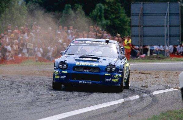 2002 World Rally Championship.ADAC Rallye Deutschland, Trier, Germany. August 22nd - 25th 2002.Tommi Makinen/Kaj Lindstrom (Subaru Impreza WRC 2002), action.Photo: McKlein/LAT Photographicref: 35mm Image A03