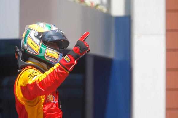 Sunday Race. 7th June 2009. Lucas Di Grassi (BRA, Fat Burner Racing Engineering) celebrates his victory. World Copyright: Alastair Staley/ GP2 Series Media Service.Ref: _O9T1002 jpg