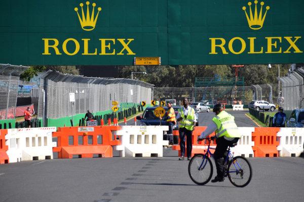 Rolex branding and preparations at Albert Park. Formula One World Championship, Rd1, Australian Grand Prix, Preparations, Albert Park, Melbourne, Australia, Sunday 9 March 2014.