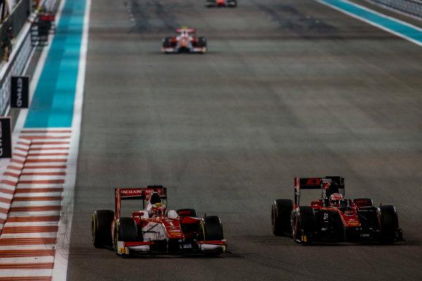 2017 FIA Formula 2 Round 11. Yas Marina Circuit, Abu Dhabi, United Arab Emirates. Saturday 25 November 2017. Charles Leclerc (MCO, PREMA Racing), Nobuharu Matsushita (JPN, ART Grand Prix).  Photo: Zak Mauger/FIA Formula 2. ref: Digital Image _X0W8784