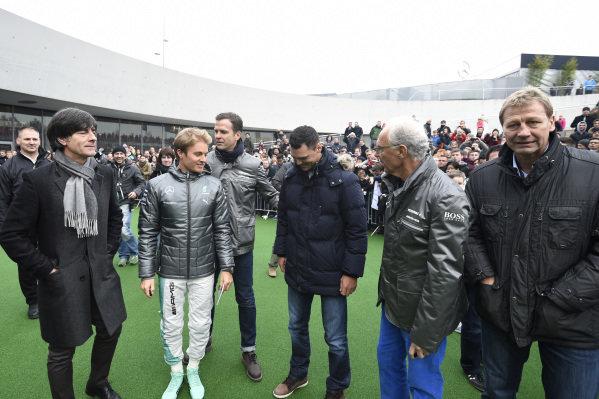 Nico Rosberg (GER) Mercedes AMG F1 with German National Football Coach Joachim Loew (GER) and Franz Beckenbauer (GER). Mercedes-Benz Stars and Cars, Mercedes-Benz Museum, Stuttgart, Germany, 29 November 2014.