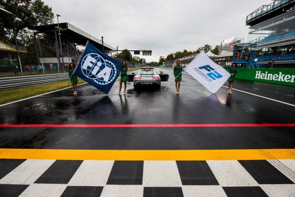 2017 FIA Formula 2 Round 9. Autodromo Nazionale di Monza, Monza, Italy. Saturday 2 September 2017. Grid girls on the grid. Photo: Zak Mauger/FIA Formula 2. ref: Digital Image _T9I9778