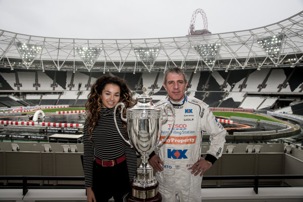 2015 Race Of Champions Olympic Stadium, London, UK MOBO award-winning singer-songwriter Ella Eyre with Jason Plato and Race Of Champions trophy. Copyright Free FOR EDITORIAL USE ONLY. Mandatory Credit: 'IMP'