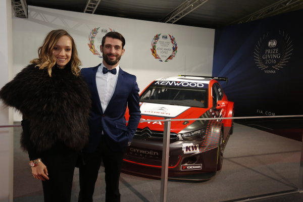 2016 FIA Prize Giving Vienna, Austria Friday 2nd December 2016 Jose Maria Lopez with his wife and the Citroen C-Elysee World Touring Car. Photo: Copyright Free FOR EDITORIAL USE ONLY. Mandatory Credit: FIA ref: 30555804884_0e0c6b25f6_o