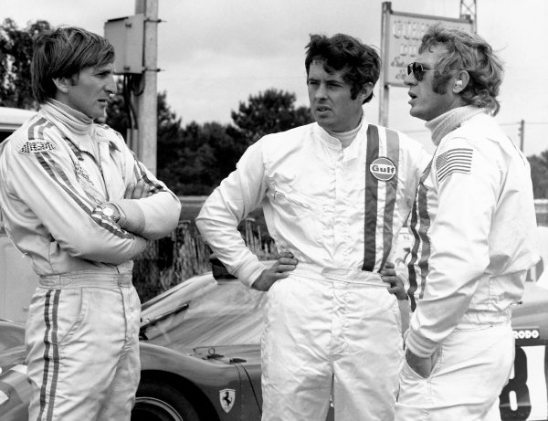 Le Mans, France. 13-14 June 1970.Steve McQueen, Brian Redman and Derek Bell filming on location.Ref: Autocar 31/1/76.World Copyright: LAT Photographic